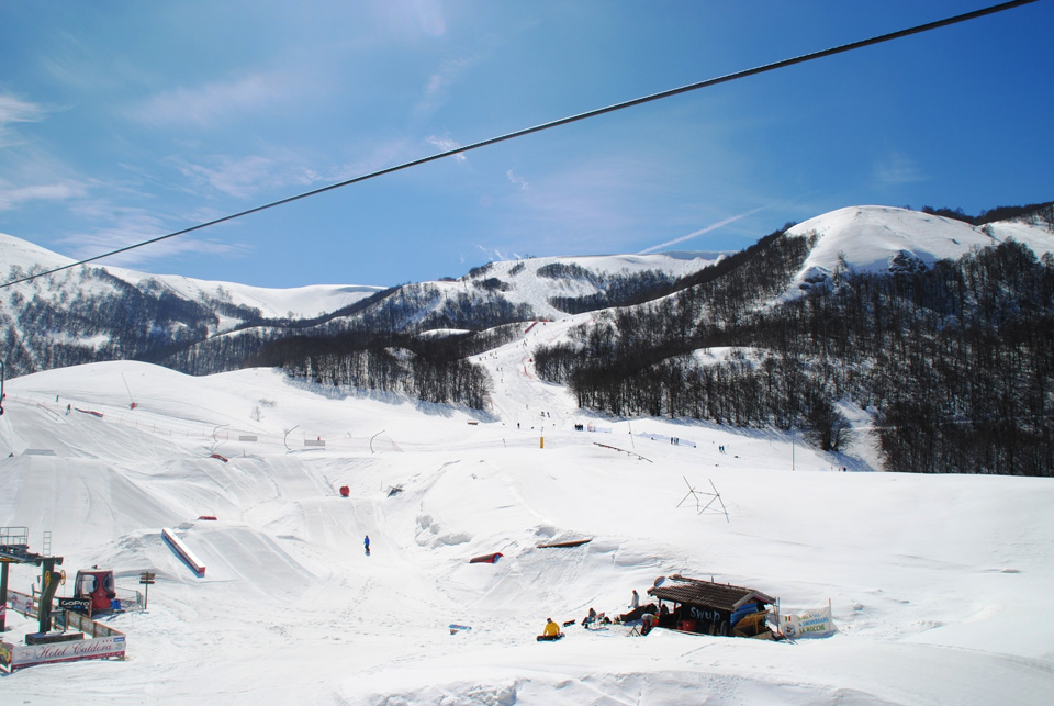 View of the slopes of Campo Felice, one of the ski ares of Abruzzo