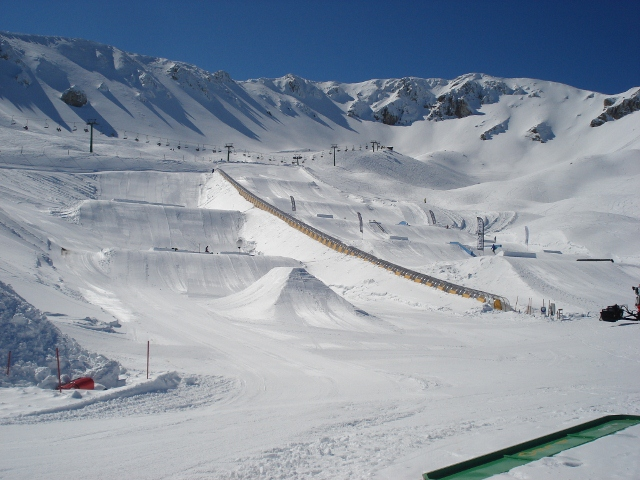 View over the snowpark of Ovindoli