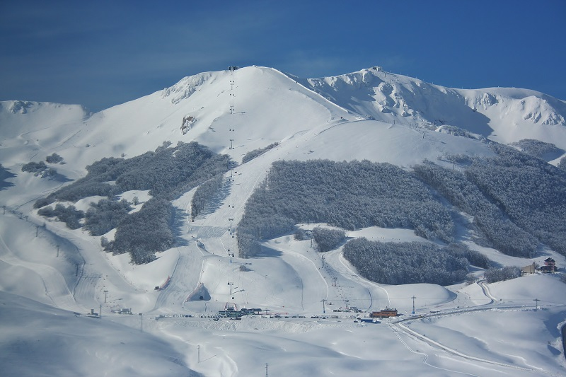 A view of the slopes of Roccaraso, one of the ski areas in Abruzzo